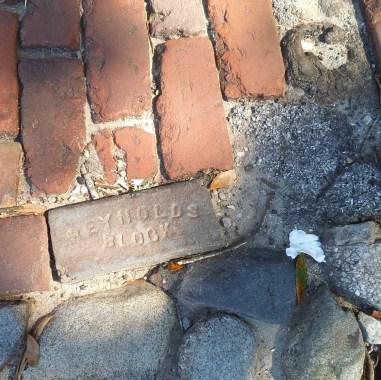 An old brick in the street in Savannah, Georgia