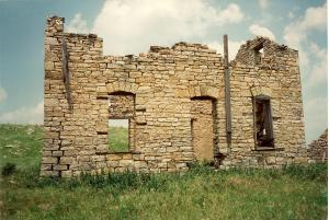 Abandoned stone house in the Kansas Flint Hills.