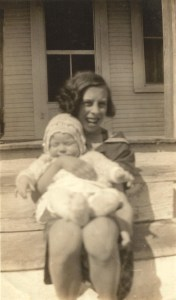 Here's my mother's friend, Norma Jean Dowell, holding Mom's little sister, Carol Jean McGhee.  1935