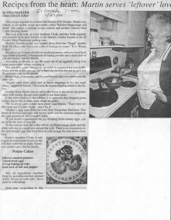 Gail shares her mother's potato cake recipe with the newspaper.