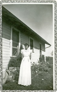 Gail Lee McGhee in the prom dress that her mother made for her.