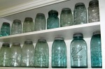 Mom collected vintage canning jars to display in her kitchen.