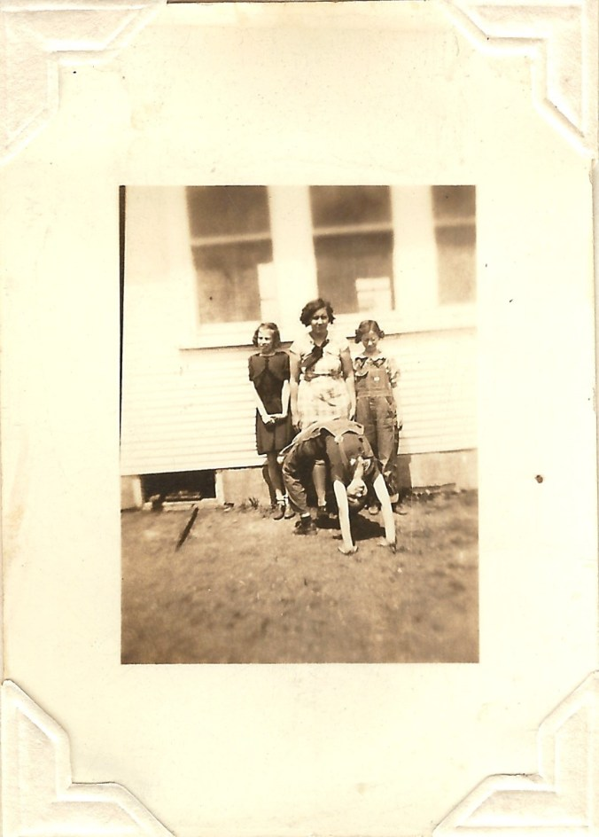 Here are some of Gail's school friends performing acrobatics at Noller School in Greenwood County, Kansas. This would have been in the 1930s.