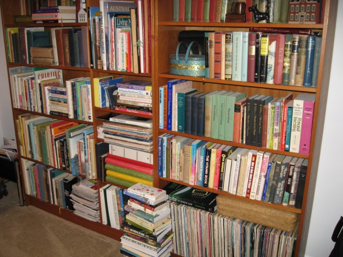 Mom and Dad always had more books than would fit on the bookshelves. There were stacks of books on side tables and on the floor next to the television.
