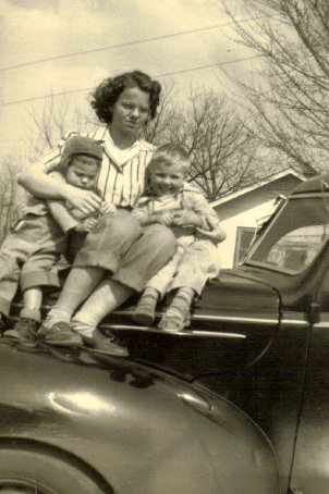 Here's Mom's sister, Carol, with Susan and Owen. I don't think Carol was there on the occasion of the sausage cook out.  The children are my siblings, Susan and Owen.
