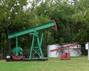 An example of a Kansas oil pumpjack at the museum in El Dorado.