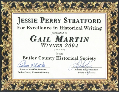 Mom's award for the Stratford Contest in 2004.
