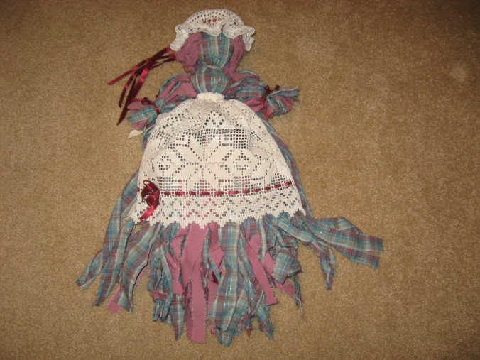Gail Lee Martin made this prairie doll from torn strips of old sheets for her daughter, Ginger.