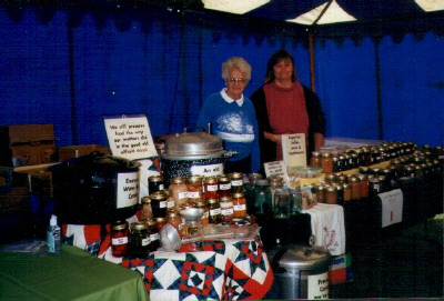 """The Butler county museum asked Gail to put up a canning booth at their special night of the """"Good Old Days"""" So with Tonda Alverez from the farmer's market we really wowed them. Even sold quite a bit of canned stuff. I made all the signs on the computer for it."""