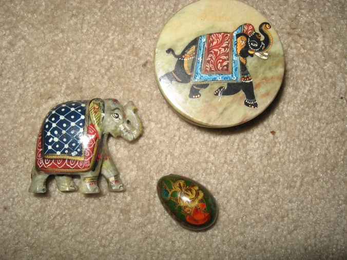 These elephants were gifts from Gail's daughter Karen, sent from India.