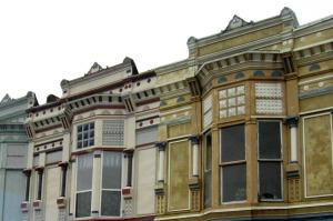 The vintage buildings in Eureka, Kansas.