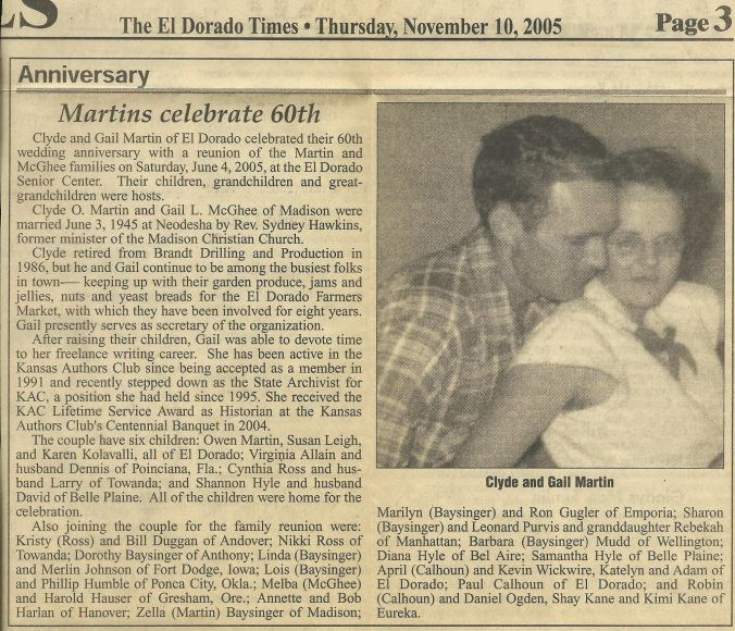 Newspaper clipping for Gail and Clyde Martin's 60th anniversary.
