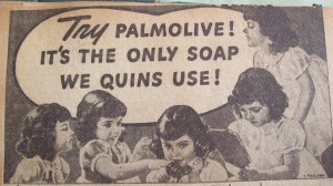 Palmolive soap advertisement with the Dionne quintuplets.