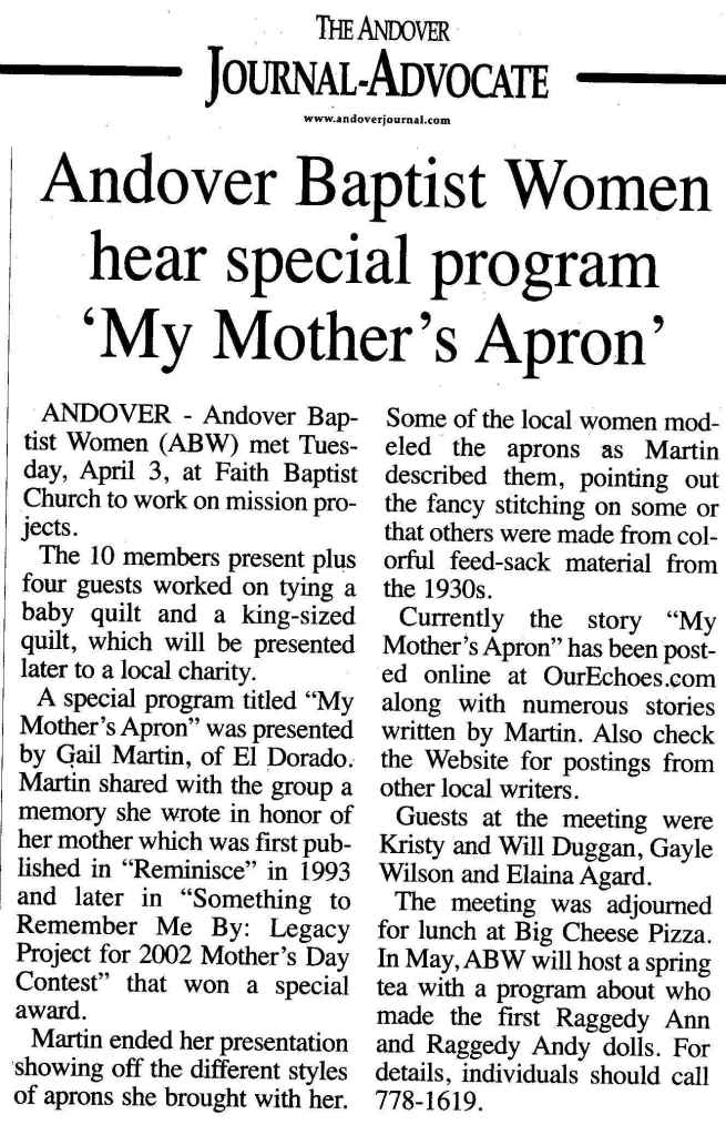 Gail Martin's program on vintage aprons - newspaper clipping.