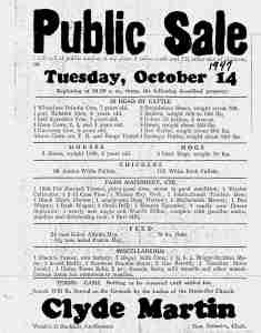 The farm sale flyer is dated 1947, but from Gail's notes, I believe it was 1948.
