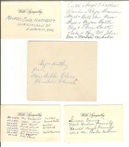 More cards from the funeral flowers.
