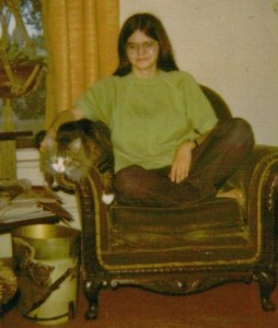 My sister, Shannon Martin, with her cat, TC.