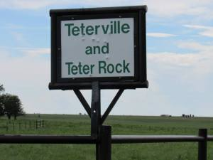 The sign for the long-gone town of Teterville, Kansas. Photo by C.J. Garriott.