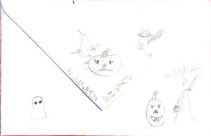 Shannon Martin's childhood drawings for Halloween.