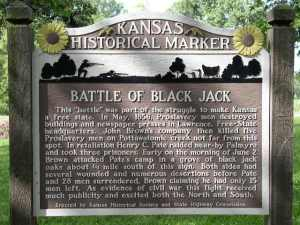 Historical marker for the Battle of Black Jack in Kansas