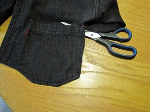 Cut around the jean pocket (photo by Virginia Allain)