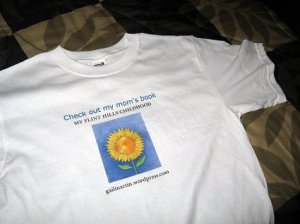 A sunflower seemed like a good match for a Kansas memoir. I ordered this t-shirt from x to promote My Flint Hills Childhood.
