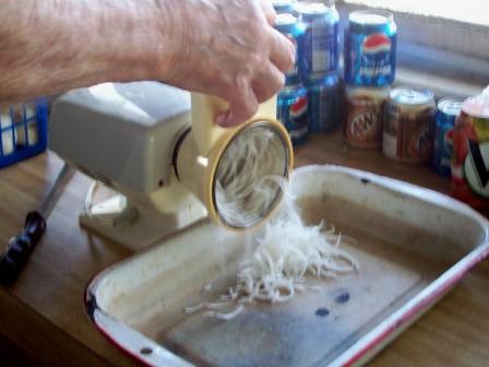 shredding turnips