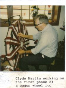 Clyde Martin, early stages of the wagon wheel rug