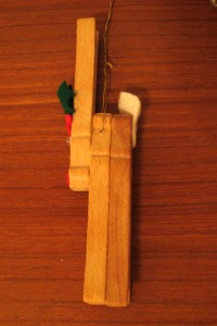 Side view of the clothespin reindeer