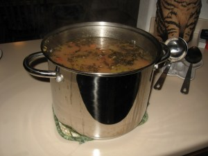 My husband makes the turkey soup on the day after Thanksgiving. (photo by Virginia Allain)