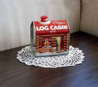 Photo of Log Cabin Syrup tin from Nutmeg Cottage on Etsy
