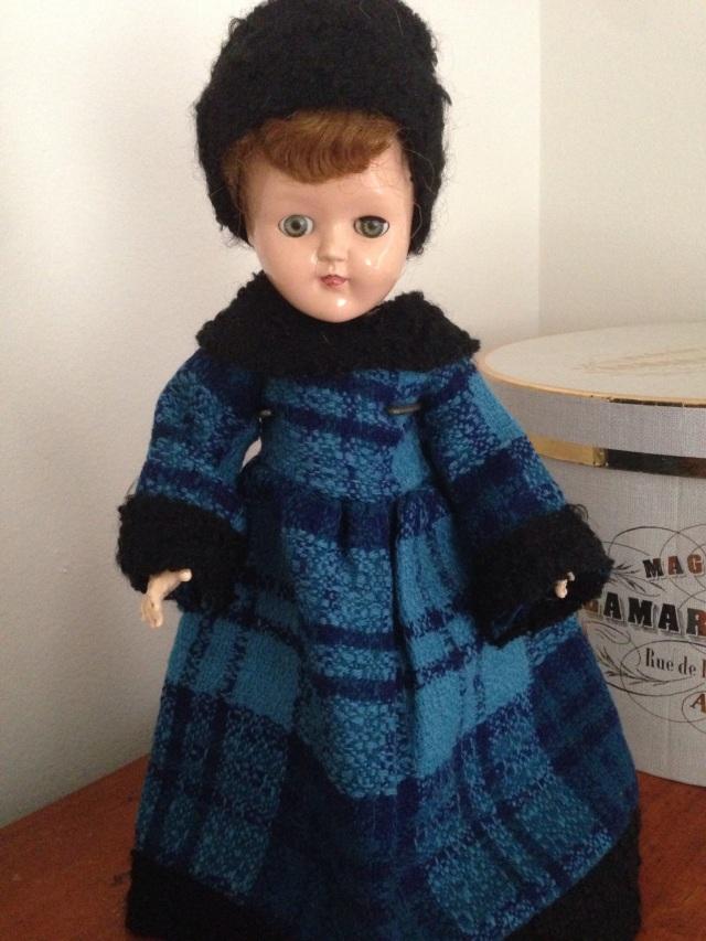 Toni doll in blue plaid dress