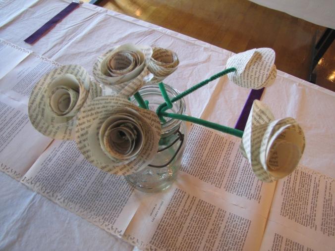 mason jar table decoration wedding paper flowers