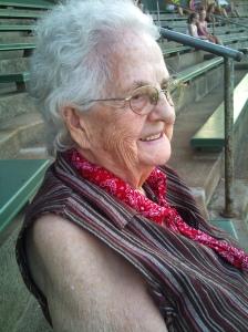 87 year old Gail Lee Martin at the ballpark