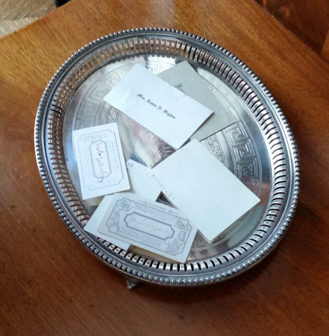 calling cards in a tray