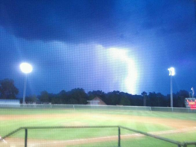 July 2012 Rain at the Bronco ball park in El Dorado KS