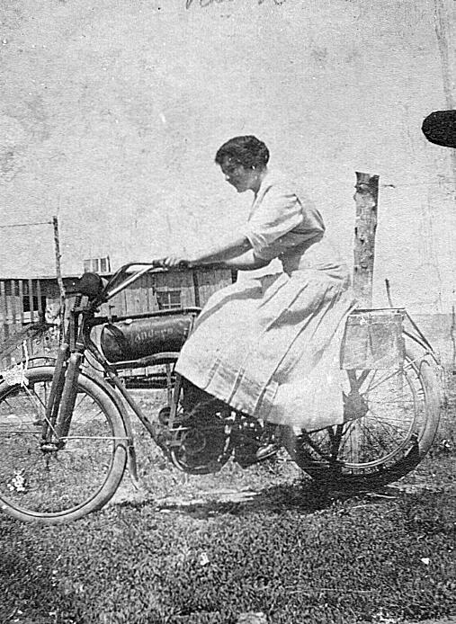 Ruth Vining on Albert's motorcycle_edited