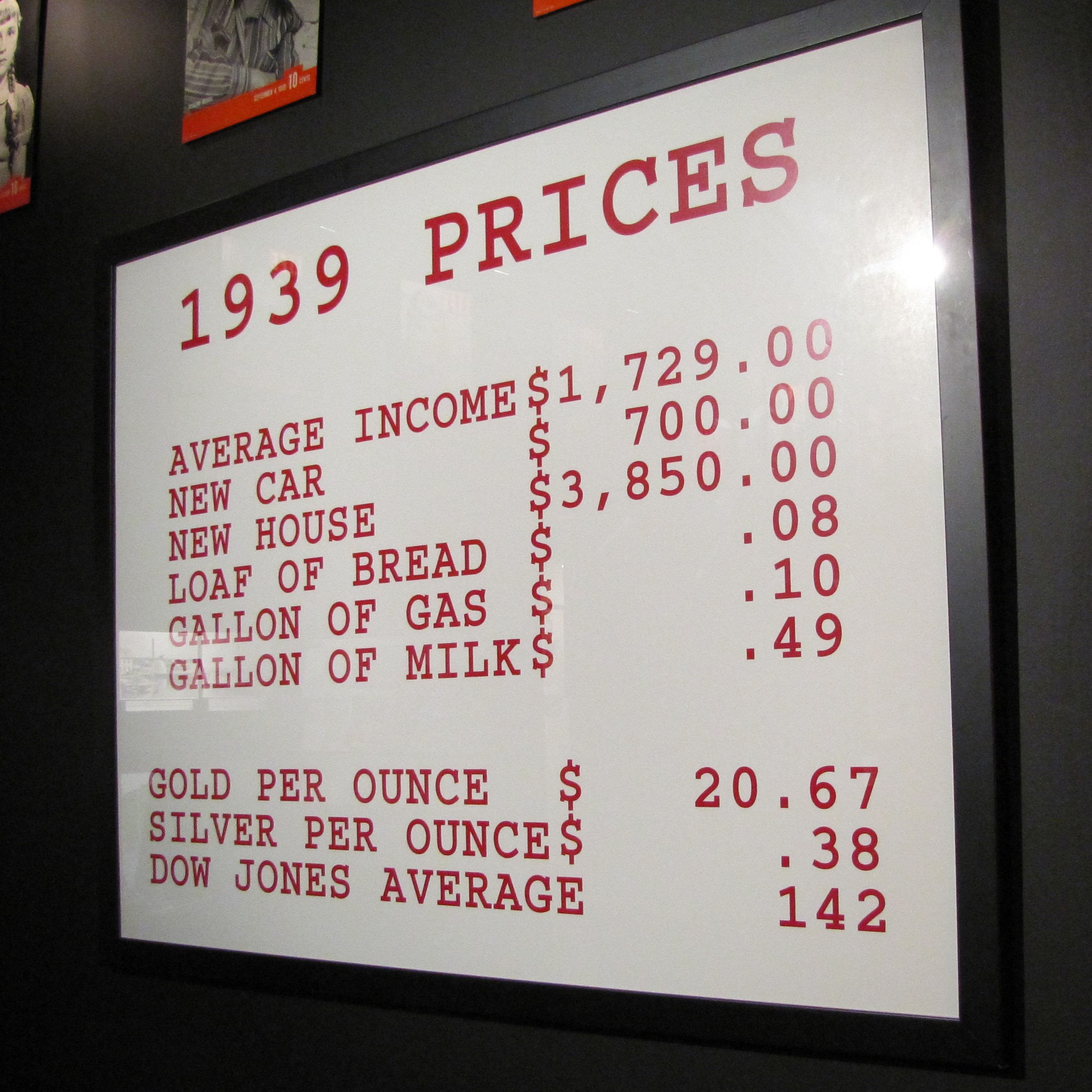 1939 Prices – Times Have Changed