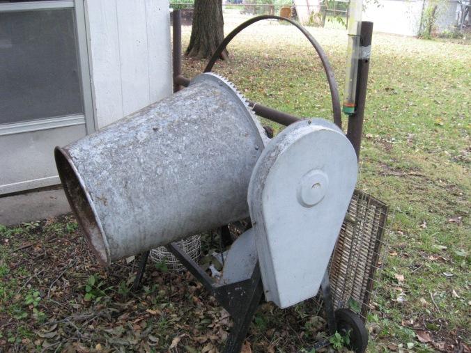 Clyde Martin's walnut husking machine, a cement mixer