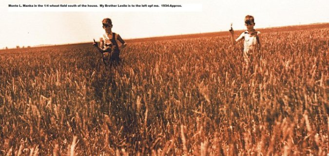 leslie and monte manka wheat fiels south of house 1934