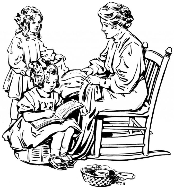 vintage mother reading clip art