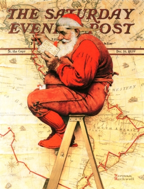 Norman Rockwell 1930s cover art for the Saturday Evening Post. 1930s Santa.