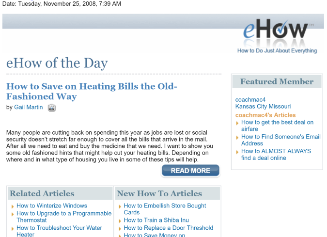 eHow of the Day - Screenshot