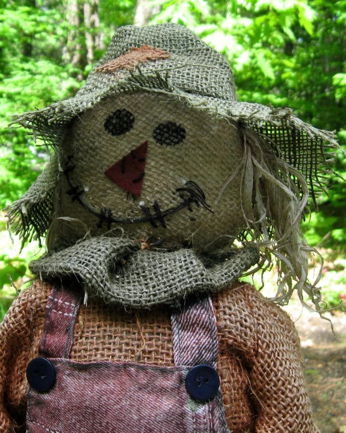 Burlap scarecrow for the garden