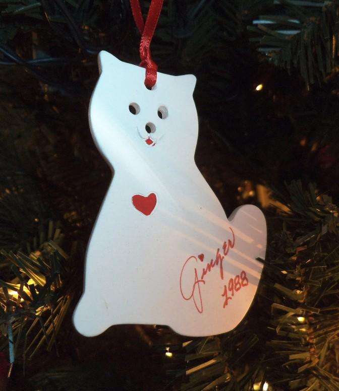1988 white cat ornament