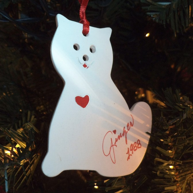 1988 white cat ornament