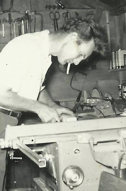 Clyde Martin working in father-in-law Clarence McGhee's woodworking shop, Madison, KS 1959.