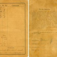 Albert Vining's 5th-grade report card from Gentry, Arkansas 1909