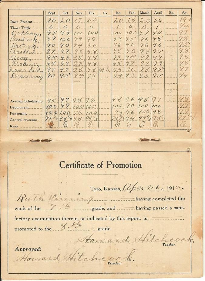 ruth vining 1912 grade card