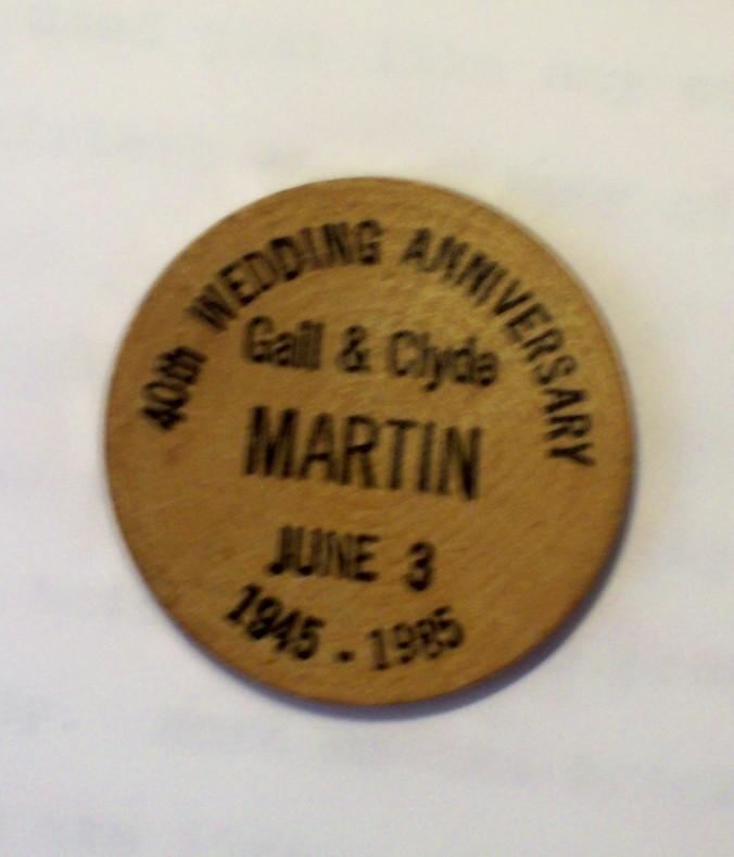anniversary wooden nickel